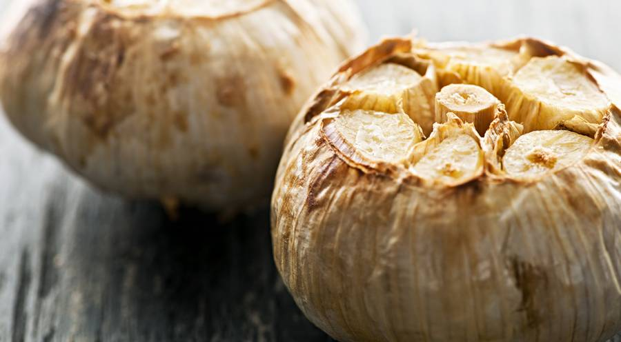 Whole roasted head of garlic