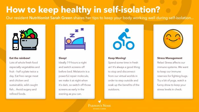 How to keep healthy during self-isolation