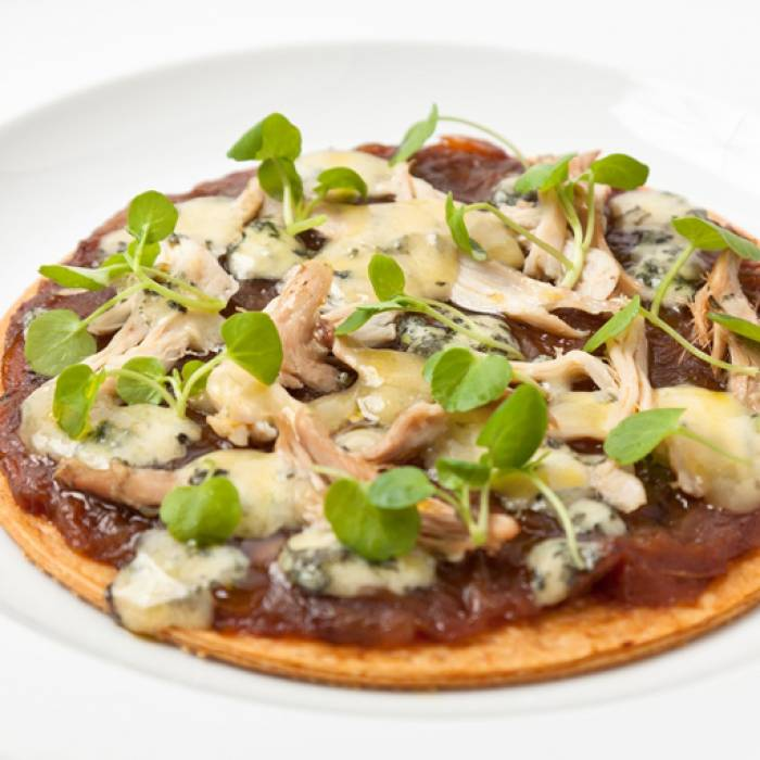 Adam Gray: Hot Turkey and Caramelised Onion Tart with Melting Stilton Cheese